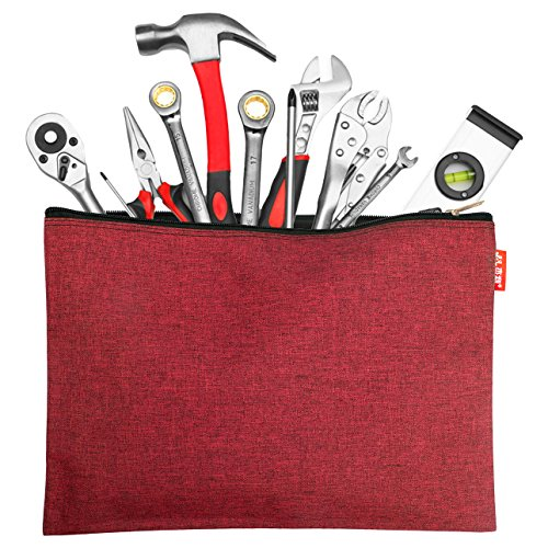 CenterZ 5 Pack Canvas Zipper Tool Bag Set, 13x9.5 inch 16oz Heavy Duty Waterproof Multipurpose Utility Multi Tool Storage Pouch Case for Organizing and Sorting Household Tools, Spare Parts (5 Colors) by CenterZ (Image #4)