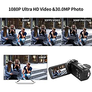 Camcorder Video Camera FHD 1080P 30 FPS Vlogging Camera 30.0 MP Camcorders with Microphone Night Vision Vlog Camera HDMI Output and Remote Control