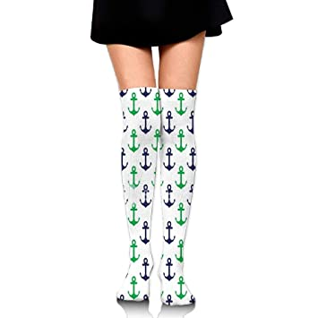 RGFJJE Calcetines Altos Anchor Green Socks Womens Crew Champion Athletic Dresses Thigh Over High Knee Long