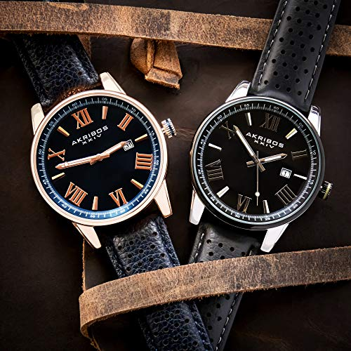 Father's Day Gift - Akribos Designer Men's Watch - Stylish Genuine Leather or Stainless Steel Bracelet Wristwatch (Blue & Rose Gold)