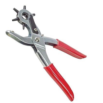 Rishx Alicates perforadores de cuero giratorio, 6 tamaños Agujero perforador redondo Herramienta perforadora para cinturones
