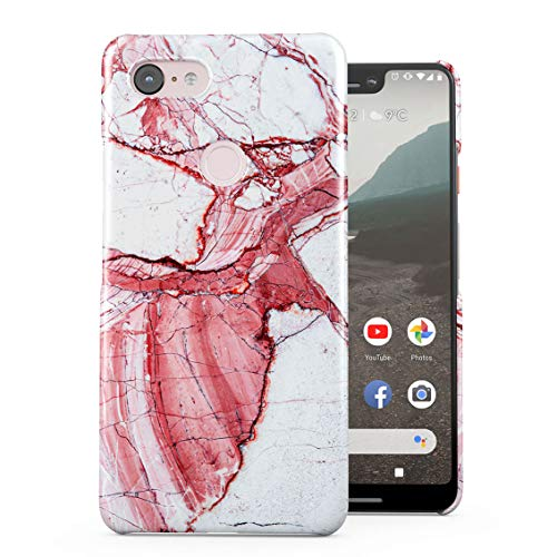 Garden Mixed Designed Well (Mixed White & Peach Pink Marble Print Plastic Phone Snap On Back Case Cover Shell Compatible with Google Pixel 3 XL)