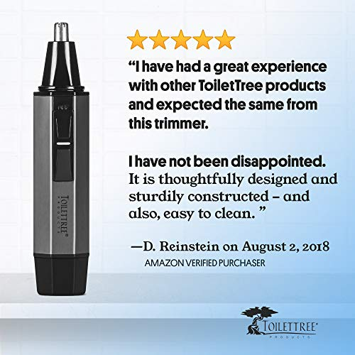 ToiletTree Professional Water Resistant Heavy Duty Steel Nose Trimmer with LED Light, Silver