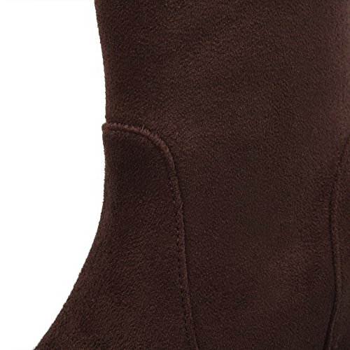 Dull Women's Round AmoonyFashion Boots Pull Brown Polish Closed Toe Solid Heels Kitten on ISI0Uq