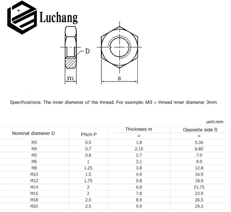 M8 x 13 x 24 mm Lot de 10 rallonges hexagonales en acier inoxydable 304