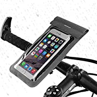 Waterproof Bike Mount Holder, Getron Universal Bicycle Mobile Phone Waterproof Pouch Holster Case For Cell Phone Up To 6 Inches Display, Supports iOS Android Windows Smartphone - Gray