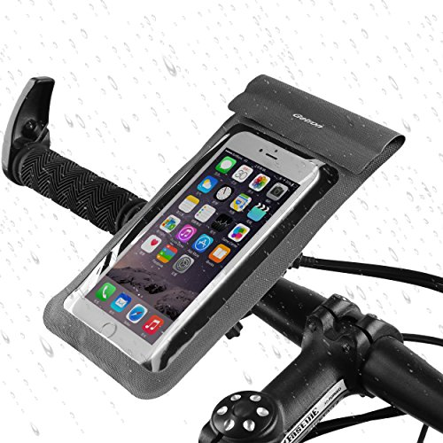Waterproof Bike Mount Holder, Getron Universal Bicycle Mobile Phone Waterproof Pouch Holster Case For Cell Phone Up To 6 Inches Display, Supports iOS Android Windows Smartphone - Gray (Waterproof Bike Mount)