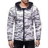 iQKA Men Casual Hoodie Full Zipper Long Sleeve Pocket Camouflage Fit Sweatshirt Top(V-White,Bust:36''/Tag:M)