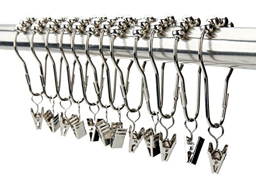 VAVC Shower Curtain Hooks Rings with Clips Hanger Clips Hanger Hooks Laundry Hooks Laundry Hanger Hooks Clips Stainless Steel Set of 12