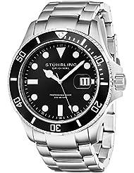 Stuhrling Original Mens 417.02 Aquadiver Regatta Espora Analog Swiss Quartz Silver Stainless Steel Watch