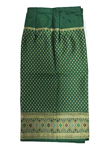 (Silk & Fibers Thai Fabric Traditional Asian Style Warp Skirt Sarong Free Size (with Hook for DIY) (#6 g))