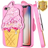 NageBee Quicksand Case Compatible Apple iPhone 6S / iPhone 6 w/[Screen Protector HD Clear] Glitter Liquid Flowing Shiny Sparkle Bling 3D Soft Flexible Funny Girly Cute Case -Ice Cream