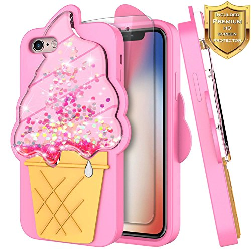iPhone 8 Case, iPhone 7 Case w/[Screen Protector HD Clear], NageBee Glitter Liquid Waterfall Floating Flowing Shiny Sparkle Bling 3D Soft Flexible Funny Girls Cute Case -Ice Cream