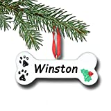 Personalized Dog Bone with Small Paw Prints and Holly Bush Detail Hanging Christmas Tree Pet Ornament with Custom Name
