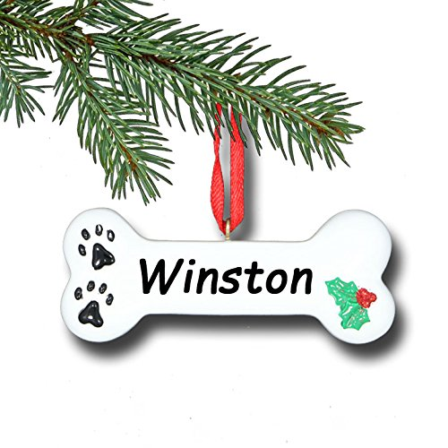 Personalized Dog Bone with Small Paw Prints and Holly Bush Detail Hanging Christmas Tree Pet Ornament with Custom Name (Ornament Dog Christmas Personalized)