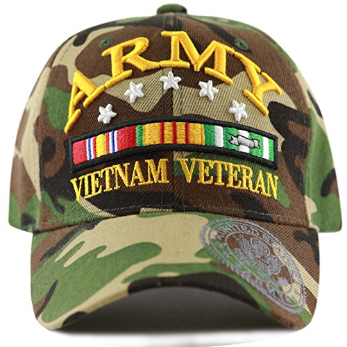 THE HAT DEPOT 1100 Official Licensed 3D Vietnam Veteran Ribbon Logo Cap (Wood Camo-Army)