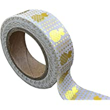 Love My Tapes 95009-G2 Gold Pineapple Dotted Decorative Tapes, 15mm by 10m