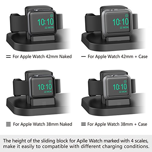 Apple Watch Stand, BEACOO Charging stand Dock Station -- Support Apple Watch NightStand Mode and iPhone 7/7 plus/SE/5s/6S/PLUS with Various Case (Black) by BEACOO (Image #3)