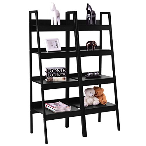Giantex Pair 4 Tier Bookshelf Bookcase Ladder Wall Stand Storage Shelves Book Rack (4 Shelf Black Metal Bookcase)