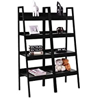 Giantex Pair 4 Tier Bookshelf Bookcase Ladder Wall Stand Storage Shelves Book Rack