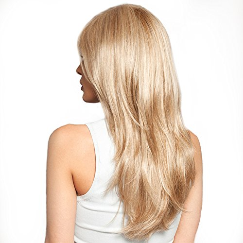 Women Brazilian Human Hair Blonde Color Long Natural Straight Side Bangs Blend Capless Daily& Wedding Wigs 24 Inches by Mufly (Image #1)