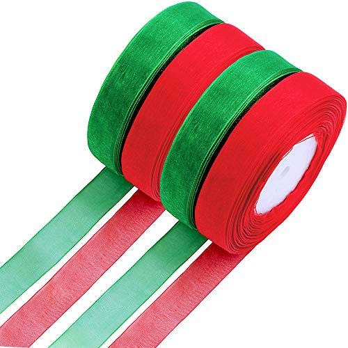 Organza Ribbon Wedding Decor - Supla 4 Rolls 2 Color 200 Yard Organza Ribbon Christmas Gift Ribbon Decorative Sheer Ribbon Trim Ribbon in Red and Green for Crafts Gift Wrapping Jewelry Making Festive Birthday Wedding Decor