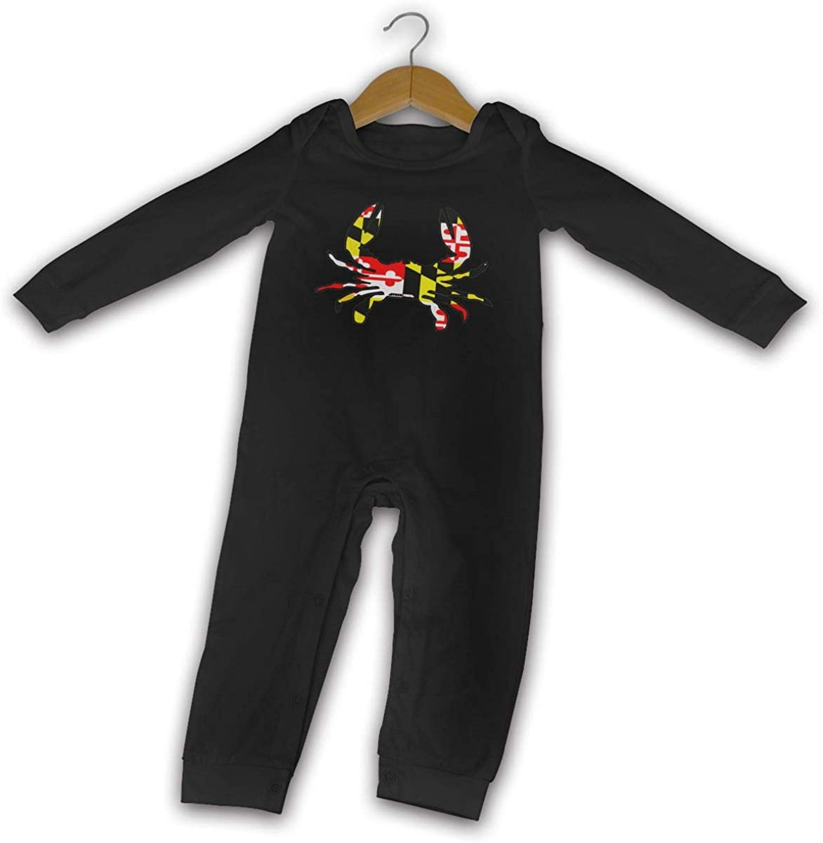 YELTY6F Maryland Flag Crab Printed Newborn Baby Jumpsuit Long Sleeve Romper Black
