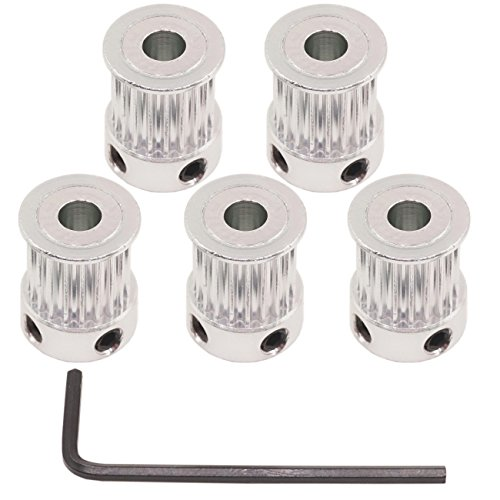 WINSINN Aluminum 2GT GT2 Synchronous Wheel 20 Teeth Bore 5mm 20T Timing Pulley for 3D Printer Width 10mm Timing Belt - RepRap Bowden Prusa I3 Mendel Makerbot Kossel Delta (Pack of 5Pcs)
