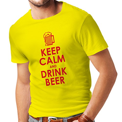 T Shirts For Men Keep Calm and Drink Beer Gift (Large Yellow Red)