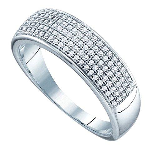 0.40 Ct Tw Round Diamonds - 10k White Gold Mens 5 Row Wedding Band .40ct Round Diamonds Micro Pave Setting - Size 10