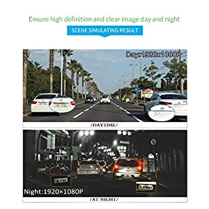 Dash Cam 7.0 inch Touch Screen Car Camera Rear View Mirror Dual Video Night Vision Driving Recorder Camera 170 Degree Wide Lens Car Cam With G-Force Loop Function Parking Monitoring with 16GB SD Card