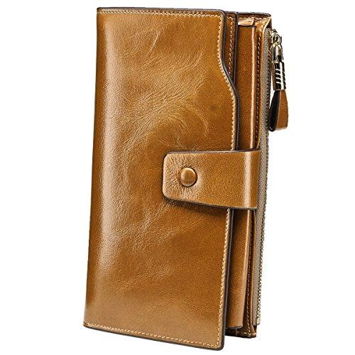 Itslife Women's RFID Blocking Large Capacity Luxury Wax Genuine Leather Clutch Wallet Card Holder Ladies Purse(Khaki RFID Blocking)