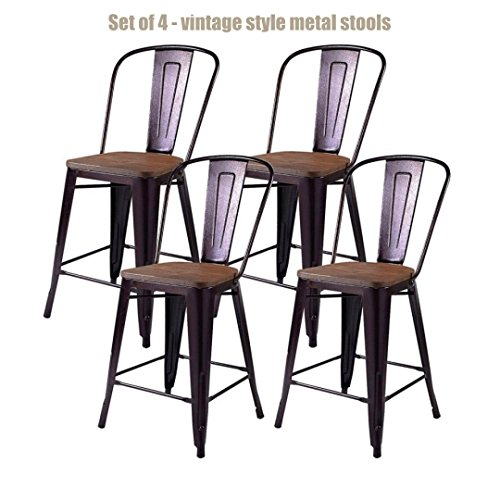 """Vintage Antique Style Metal Frame Rustic Wooden Bar Stools School Office Kitchen Dining Chairs Sturdy Heavy Duty Steel Frame Scratch Resistant Comfortable Backrest New Copper Set of 4 - 38.9""""H #1209b from Koonlert@shop"""