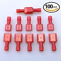 Glarks 100pcs 22-16 Gauge Fully Insulated Female Male Spade Nylon Quick Disconnect Electrical Insulated Crimp Terminals Connectors Assortment Kit by Glarks
