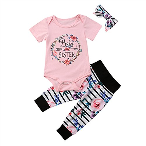 (Newborn Girl Clothes Baby Sister Romper Bodysuit+Floral Striped Legging Pants Sets with Headbands Infant Summer Outfits 0-3)