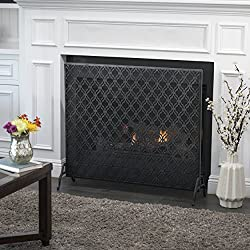 Elmer Single Panel Black Iron Fire Screen by Great Deal Furniture