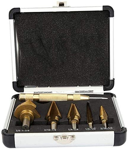 HSS Step Drill Bits Set of 6 Titanium HSS Step Cone Drill Bits with Storage Boxes