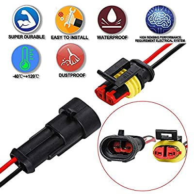 HIFROM 5 Kit (2 + 3 + 4 Pin) Car Male & Female Waterproof Electrical Connectors Plug Socket Kit With 10cm Wire AWG Gauge Marine: Automotive