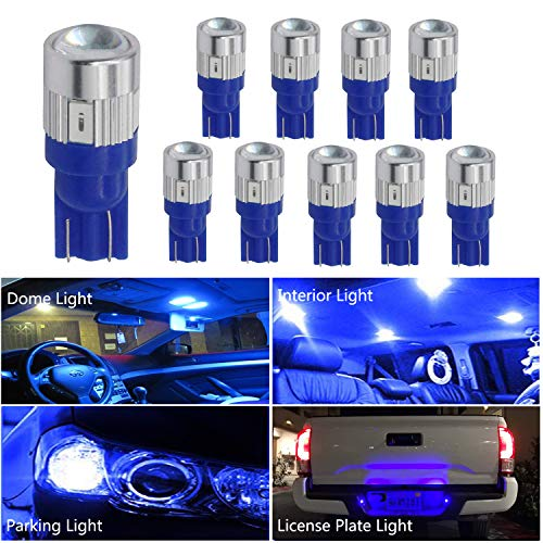 HOCOLO T10 198 194 168 912 921 W5W 2825 White Amber/Yellow Blue Green Red Ice Blue Color For Interior Dome/Map/License Plate/Parking/Door/Trunk Lights (10pcs T10 6-SMD, Blue)