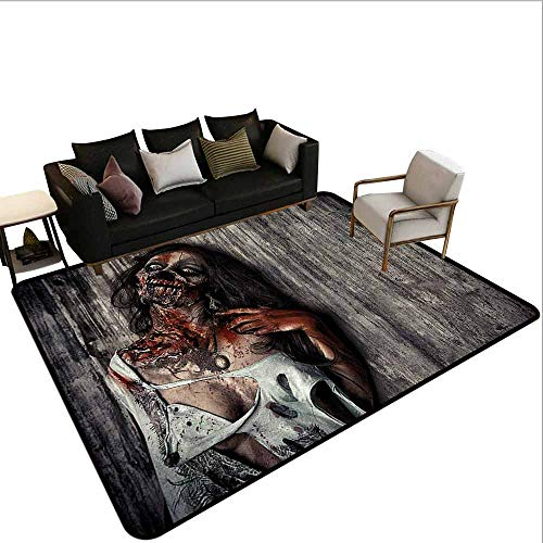 Children's Toy Carpet Zombie,Angry Dead Woman Sacrifice Fantasy Design Mystic Night Halloween Image,Dark Taupe Peach -