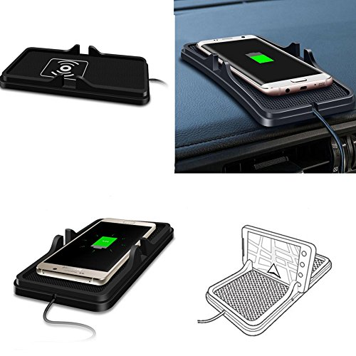 Price comparison product image SN-RIGGOR Qi Standard Wreless Charger Car Dashboard Phone Holder Pad Holder Car Anti Slip Mat Wireless Charger For iPhone X iPhone 8 iPhone 8 plus,Samsung Galaxy Note 8 S8 (Black)