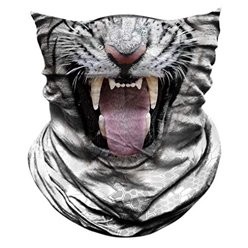 2 Pack - 3D Animal Neck Gaiter Scarf Bandana Face Mask Seamless UV Protection for Motorcycle Cycling Riding Running Fishing Hiking Conoeing Tiger ()