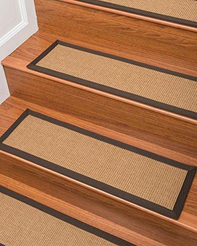 Natural Area Rugs 100% Natural Fiber Megan, Sisal Dark Tan, Handmade Stair Treads Carpet Set of 13 (9