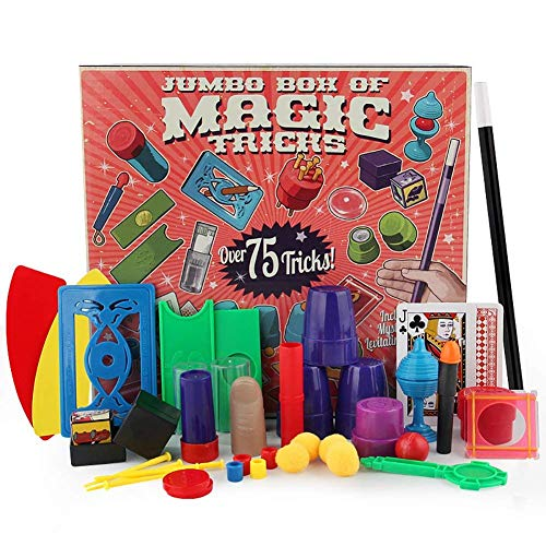 Magic Kit Easy Magic Tricks For Kids Over 75 Spectacular Tricks Magic Set Ideal For Beginners and Kids of All Ages With Cards / Coin / Wand / Fake Thumb - First Magic Set