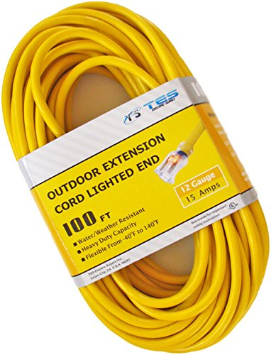 TES 12 Gauge 100 Ft. 12/3 SJTW Heavy Duty Extension Cord with Lighted Plug