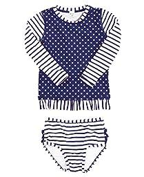 RuffleButts® Little Girls Navy Striped Polka Long Sleeve Rash Guard Bikini - Blue - 2T