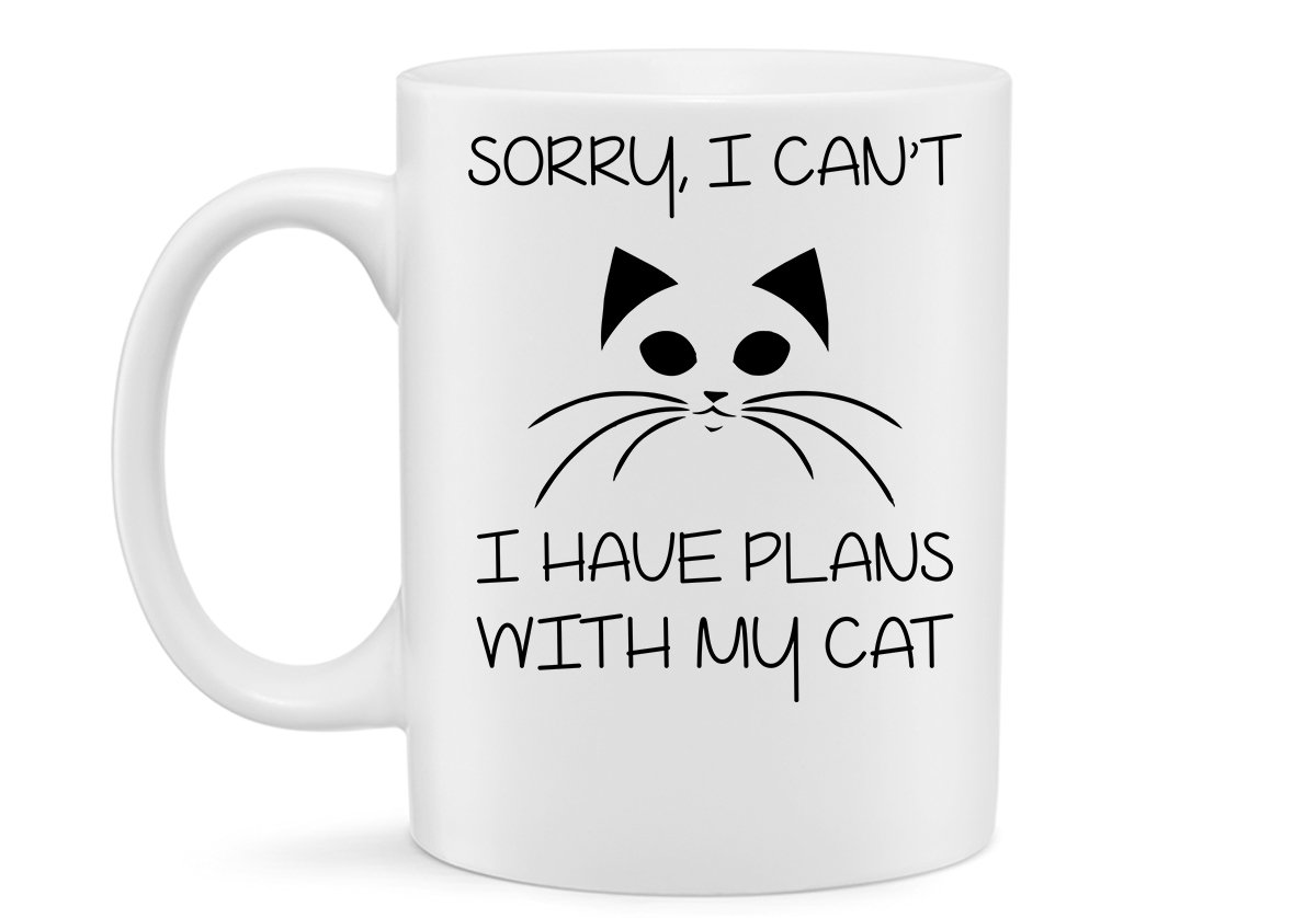 Amazing Gift for All by Hot Ass Tees Sorry Funny Novelty 11 Ounce Coffee Inspirational Mug I Cant I Have Plans With My Cat Mug Best Mug Gift for Cat Lovers