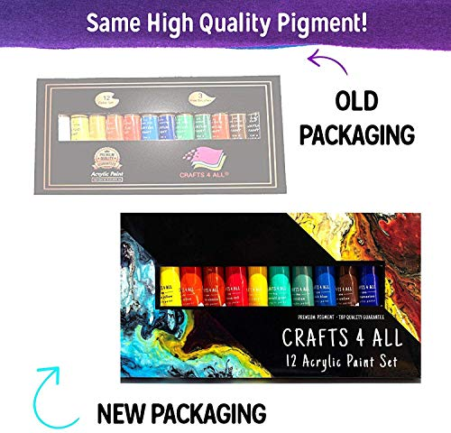 Acrylic Paint Set 12 craft paints. For paper, canvas, wood ,ceramic ,fabric, & crafts. Non toxic & Vibrant colors. Rich…