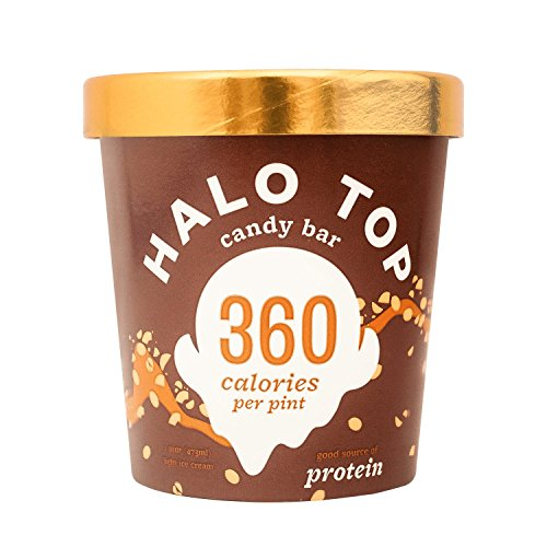 Halo Top Ice Cream Pint, Candy Bar, 16 Ounce (Pack of 8) (Top Ice Cream)