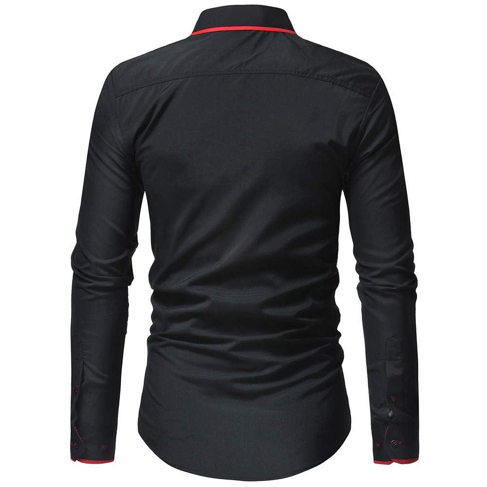 WM /& MW Fashion Men Business Shirt Slim Fit Long Sleeve Solid Pure Color Turn-Down Collar Shirt Casual Blouse Tops
